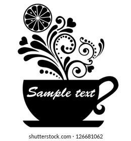 Tea with lemon isolated on White background. Vector illustration