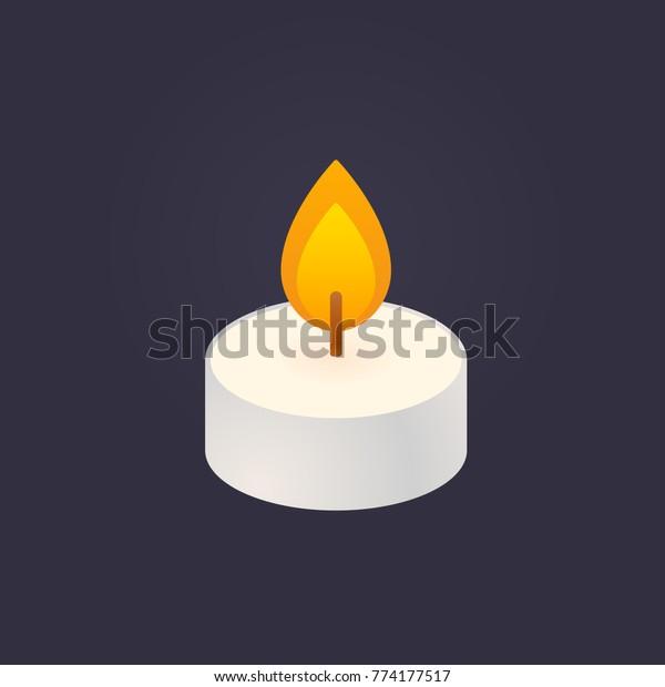 Tea light, floating candle vector illustration on dark background. Simple and minimal cartoon style icon.
