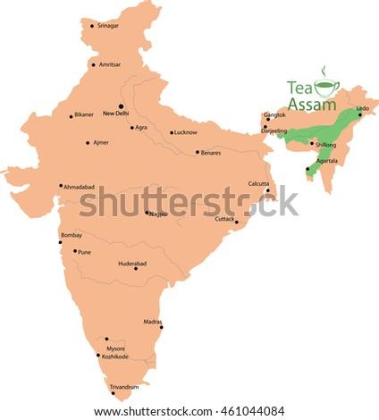 Tea Map Assam India Stock Vector Royalty Free 461044084 Shutterstock