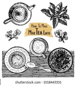 Tea with milk. Milk tea. Matcha latte drink.