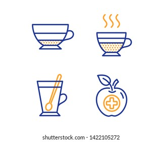 Tea mug, Americano and Cafe creme icons simple set. Medical food sign. Cup with teaspoon, Beverage cup, Hot coffee. Apple. Food and drink set. Linear tea mug icon. Colorful design set. Vector