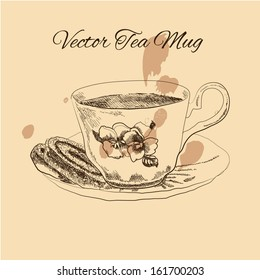 Tea mug and cake vintage style