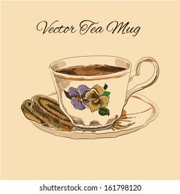 Tea mug with saucer and cake vintage style