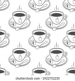Tea mug vector seamless pattern on a white background.