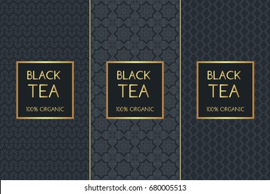 Tea Package set template vector. Luxury collection of seamless patterns for royal black tea label design. Tag for food products and drinks, spa cafe and coffee shop.