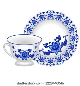 Tea pair for porcelain tea party set - cup and plate. Decorated in traditional Russian style Gzhel with oriental floral pattern. Vector illustration