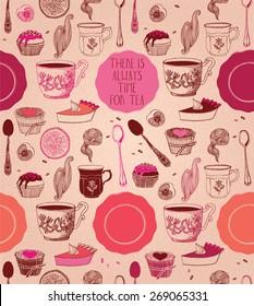 tea party card design. vector illustration