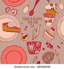 tea party card design. vector illustration.