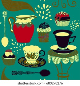 Tea party card, seamless pattern design.