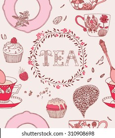 Tea party card. Teacups with flowers and sweets. Vector illustration.