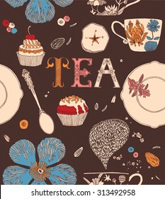 Tea party card. Teacups with flowers and sweets. Seamless pattern.