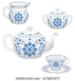Tea party decorative porcelain table set ornate in traditional  Russian style Gzhel with floral pattern, blue on white. Isolated teapot, tea cup, milk jug and sugar bowl. Vector illustration