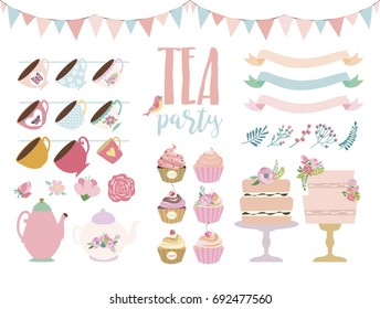 Tea party elements set. Vector illustration