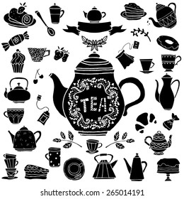 Tea party hand drawn icons black silhouettes set. Cups, mugs, teacups, teapots, saucer, spoon,  leafs, fruits cherry, strawberry,  cakes, croissant, pie, candy isolated on white background