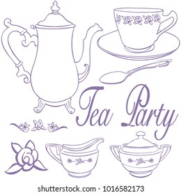 tea party icons teapot teacup creamer sugar spoon rose purple
