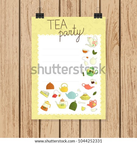 Tea party invitation or banner in doodle style. Teapots vector illustration on light brown wooden