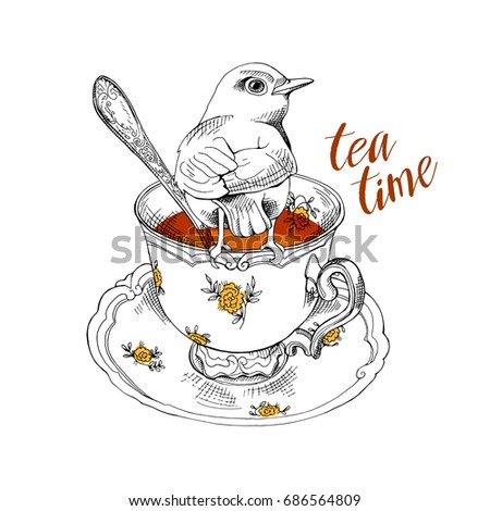 Tea party invitation card with a Cup of tea, Saucer, Spoon and Bird.