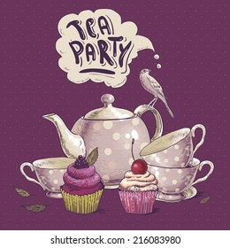 Tea party invitation card with a Cups, Cupcake, Bird and Pot