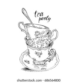 Tea party invitation card with a Cups, Saucer, Spoon. Vector black and white Illustration.