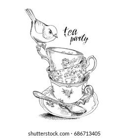 Tea party invitation card with a Cups, Saucer, Spoon and Bird. Vector black and white Illustration.