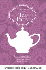 tea party invitation card template vector/illustration