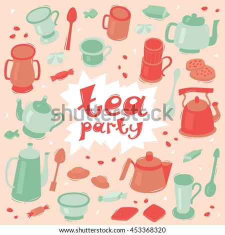Tea Party Invitation Card Template Vintage Stock Vector Royalty