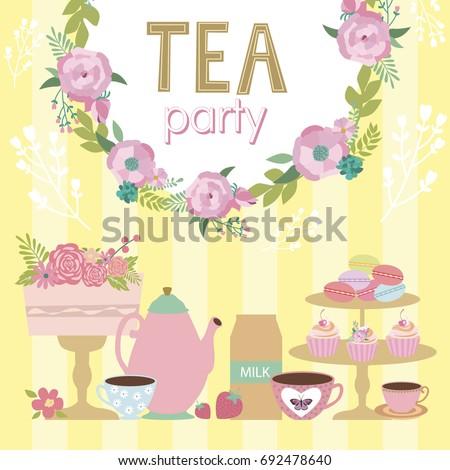 Tea Party Invitation Card Vector Illustration Stock Vector Royalty