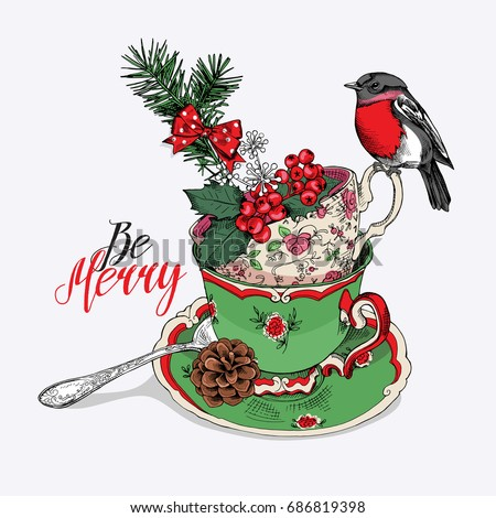 Tea Party Invitation Christmas Card Cups Stock Vector Royalty Free