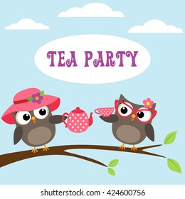 Tea party invitation with cute owls on branch with teapot and cup