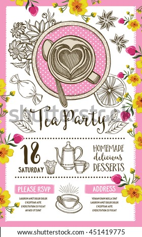 Tea party invitation, template design. Vintage creative dinner invitation with hand-drawn graphic