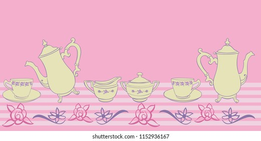 Tea party pink yellow purple seamless border stripes teapot teacup roses