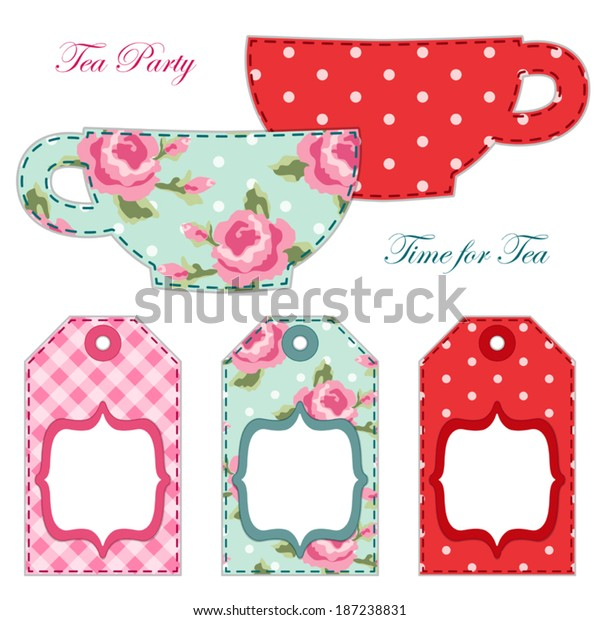 photograph about Tea Party Printable referred to as Tea Get together Printables Tea Labels Tags Inventory Vector (Royalty