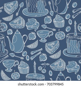 Tea party seamless pattern hand drawn vintage vector