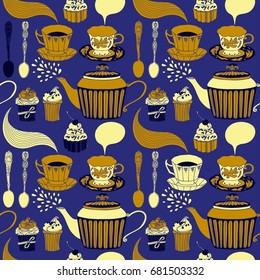Tea party seamless pattern. Vector design.