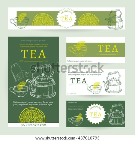 tea party template tea blank design stock vector royalty free