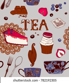 Tea party, vector decorative illustration.