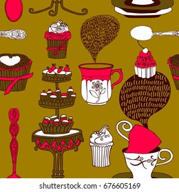 Tea party vector illustration with cups, sweets, bakery. Freehand drawing, sketch.