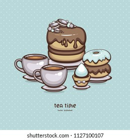 Tea party vector illustration. Tasty chocolate Sweets.Desserts and cups hot cocoa. Cake, muffin and donuts isolated on turquoise background. Template for menu design and confectionery logo.