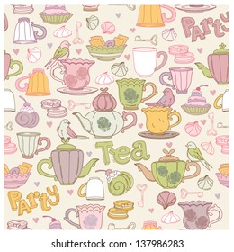 Tea party vector pattern (seamless and editable)