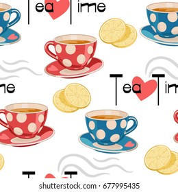 Tea pattern. Colorful seamless pattern with tea elements. Can be used for menu, cafe, restaurant, bar, poster, fabric, wrapping paper, banner and other design