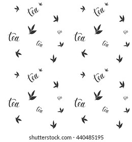 Tea pattern. Seamless pattern for tea packaging and cafe design. Lettering pattern