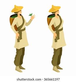 Tea picker woman cartoon illustration. Asian tea farmer vector isolated  image.
