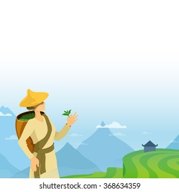 Tea picker woman cartoon illustration. Asian tea farmer vector isolated  image. Landscape on background tea harvesting fields. Blank template for bottom of the advertisement page sheet, poster, banner