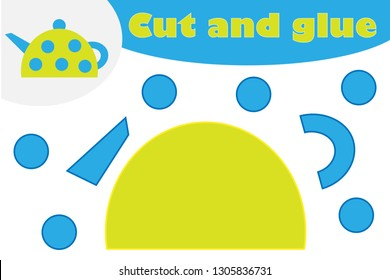 Tea pot in cartoon style, education game for the development of preschool children, use scissors and glue to create the applique, cut parts of the image and glue on the paper, vector illustration