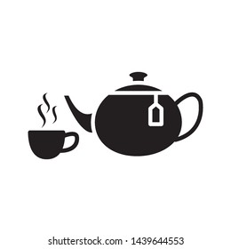 tea pot icon vector in simple style template
