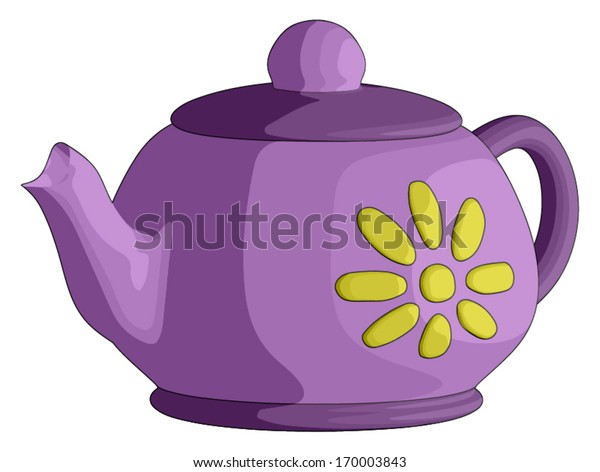 Tea Pot -  Vector Artwork (isolated on white background).