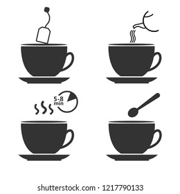Tea preparation. Set of tea brew instruction. Steps how to cooking hot drink . Vector