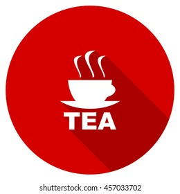 tea red vector icon, circle flat design internet button, web and mobile app illustration