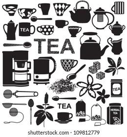 Tea related silhouette symbols