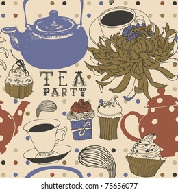 tea seamless background with cake and flower